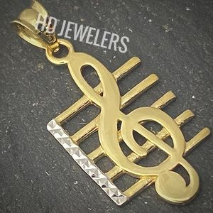 SOLID 14KT GOLD TREBLE CLEF MUSIC NOTE PENDANT
